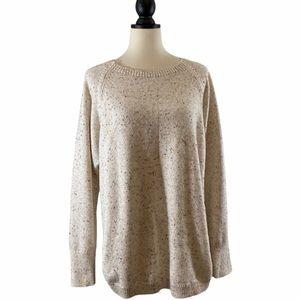 LOFT Sweater Crewneck Rounded Hem Cream Flecks, M